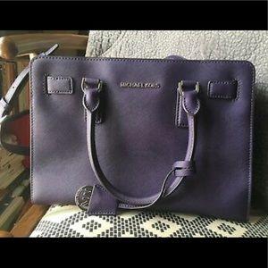 Michael Kors Dillon Deep Purple Leather Satchel